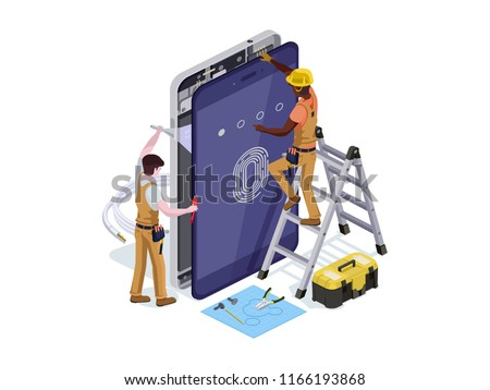 Vector People Form Telephone Repair Service 3 D Stock Vector