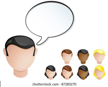 Vector - People Heads Speech Bubble. Set of 4 hair and skin colors