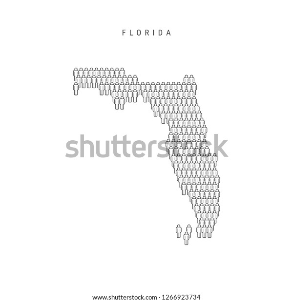 Vector People Map Florida Us State Stock Vector (Royalty ... on maps of delaware shape, florida state shape, map of connecticut shape, map of kentucky shape, map of washington dc shape,