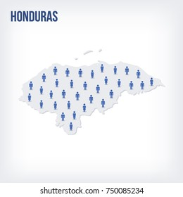 Vector people map of Honduras. The concept of population. Can be used for presentations, advertising, infographics and the visualization of the statistics.