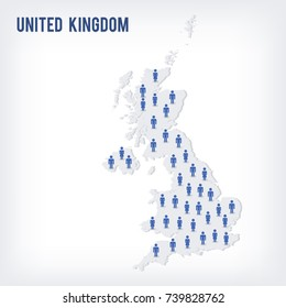 Vector people map of United Kingdom . The concept of population. Can be used for presentations, advertising, infographics and the visualization of the statistics.
