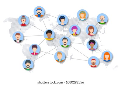 Vector people network diagram template world map concept