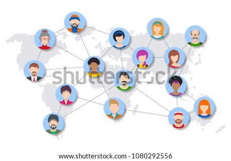 Vector People Network Diagram Template World Stock Vector Royalty