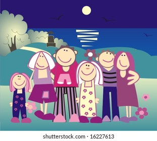 vector people in a night beach