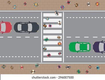 Vector people on crosswalk aerial view