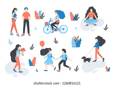 Vector  people at park performing leisure outdoor activities - pick flowers, walking dog, doing yoga, ride a bike,  children play, walking, talking. Cartoon characters isolated.