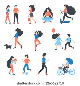 Vector  people at park performing leisure outdoor activities - playing with ball, walking dog, doing yoga and run, ride a bike,  children play, play football, walking. Cartoon characters isolated.
