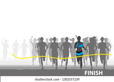 vector a lot of people are running on white background.finish line.marathon runner