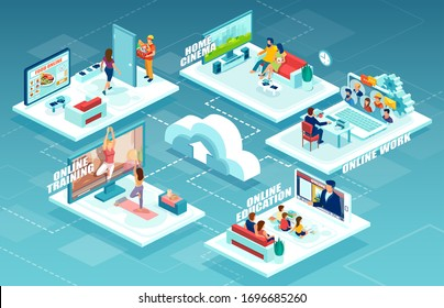 Vector of people staying at home working online, watching TV, ordering food via app, being trained distantly