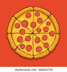 Vector pepperoni pizza