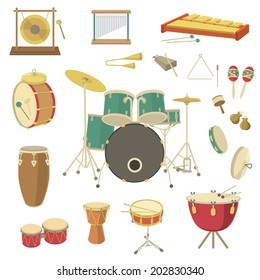 Vector percussion musical instruments in the flat style. Various classical orchestral musical instruments, concert stage, traditional national musical instruments. Cartoon graphic design elements