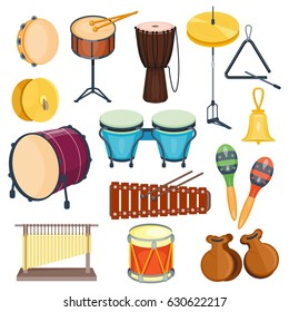Vector percussion musical instruments flat style isolated