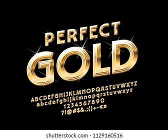 Vector Perfect Gold Alphabet Letters, Numbers and Symbols. Chic sparkling Font