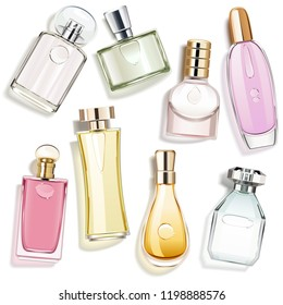 Vector Perfume Glass Bottles isolated on white background