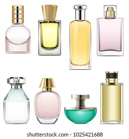 Vector Perfume Icons Set 3 isolated on white background