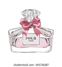 Vector Perfume Illustration With Bow
