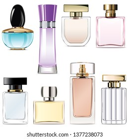 Vector Perfume Water Icons isolated on white background