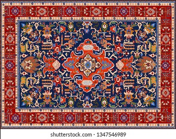 Vector Persian carpet, tribal Background