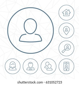 Vector person outline icon set in circle button with geometric seamless background.
