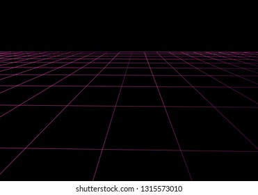 Vector perspective grid. Abstract mesh background. Polygonal mountains. 80s Retro Sci-Fi Background. Vector illustration.