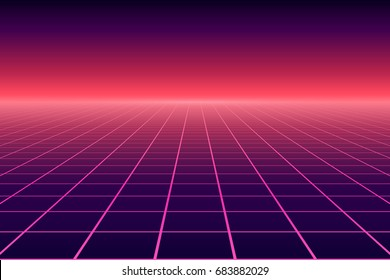 Vector perspective grid. Abstract retro background in 80s style.