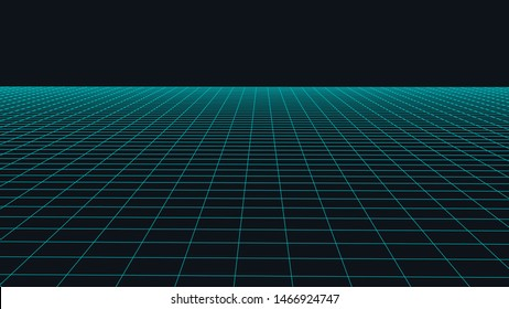Vector perspective grid. Abstract wireframe landscape. Detailed lines on  background. 3d  vector illustration.