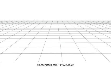 Vector perspective grid. Detailed lines on white background.