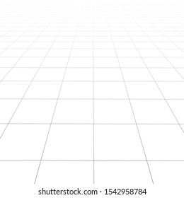 Vector perspective grid. Detailed lines on white background. Square illustration.
