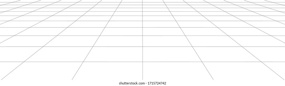 Vector perspective grid. Detailed lines forming an abstract background. Ultra wide illustration.