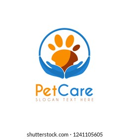 Vector Pet Care Circle logo design template. Its good design combination Hands Up, Circle and Paw Pet Animal for Logo, Icon, Symbols, App icon, emblem, label or brand identity. Pet Paw Care, Safety.