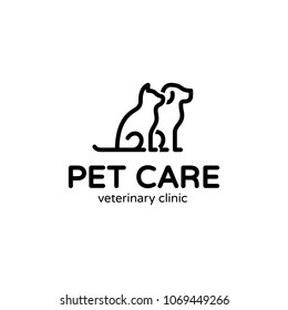 Vector Pet Care logo design template. Graphic sitting cat and dog logotype, sign, symbol. Animal friend illustration isolated on background. Modern kitten and puppy label for veterinary clinic,petfood