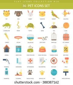 Vector pet color flat icon set. Elegant style home pets icons design for web and apps.
