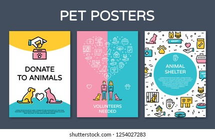 Vector pet design poster set. Icon banner illustrations showing animal charity, donation, volunteering, adoption, care with place for text. Linear pictogram flyers with man, woman, cat, dog, heart