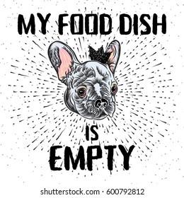 raster pet shop flyer french bulldog stock illustration 657760612