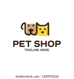 Vector Pet Shop logo design template. Modern animal icon label for store, veterinary clinic, hospital, shelter, business services. Flat illustration background with dog and cat heads