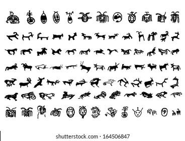 Vector of petroglyph symbol Silhouettes