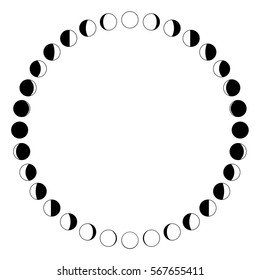 Vector. The phases of the moon on a white background. Simple template. The whole cycle from new moon to full. Graphic image. Stylization