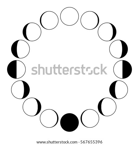 The Phases Of Moon On A White Background Simple Template