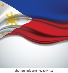 Vector of  Philippine flag blowing in the wind on white background