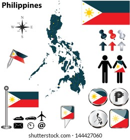 Vector of Philippines set with detailed country shape with region borders, flags and icons