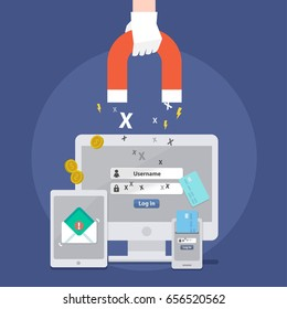 Vector of phishing email concept, magnetic, credit card, money