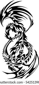 Vector Phoenix battle dragon tattoo