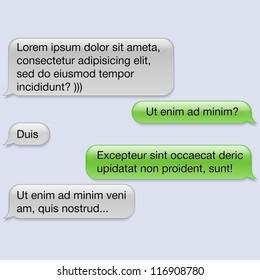 Vector phone chat bubbles with blank text. Sms messages. Speech bubbles. Short message service bubbles.