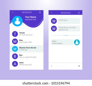 Vector phone chat interface. Sms messages. Speech bubbles. Short message service bubbles