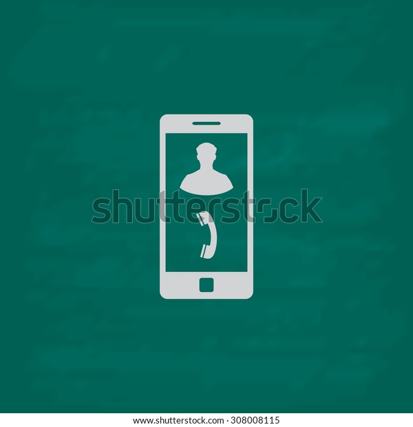 Vector Phone incoming call. Icon. Imitation draw with white chalk on green chalkboard. Flat Pictogram and School board background. Vector illustration symbol