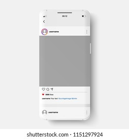 Vector phone and social networking instagram. Phone and push notifications. Like from social media.