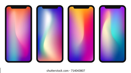 Vector phone x wallpaper collection. Editable gradient mesh masked into phone shape.