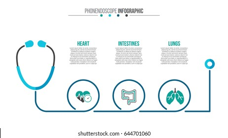 Vector phonendoscope infographic. Medical and healthcare template for presentation with 3 steps, options, parts or processes.
