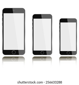 Vector phones with blank screen isolated on white background with reflection. Mock-up