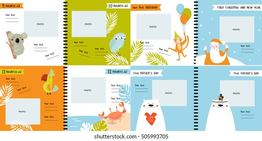 """Vector photo book with cartoon animals for the children, """"the first year of the child"""". Frames, stickers, poster.  Koala,monkey, parrot, polar bear safari. tropical, mother's day, father's day. part 3"""